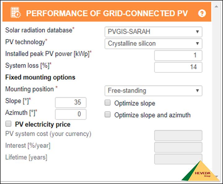 Nhập thông số phần mềm tính toán năng lượng mặt trời Pvgis